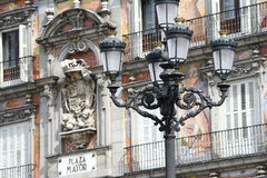 Madrid - Plaza Mayor. Street lamp in Plaza Mayor in Madrid Spain Royalty Free Stock Photo