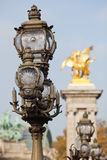 Street lamp on the Pont Alexandre in Paris Stock Image