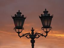 Street lamp on lamp post in the morning. Against he sky Royalty Free Stock Images