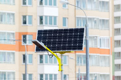 Street lamp powered by solar batteries Royalty Free Stock Images