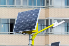 Street lamp powered by solar batteries Stock Photos