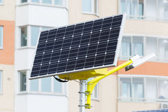 Street lamp powered by solar batteries Stock Images