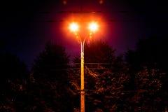 Street lamp public lighting at night. Street orange lamp public lighting at night royalty free stock image