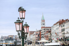 Street lamp at Riva degli Schiavoni Royalty Free Stock Photography
