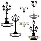 Street lamp set. Street lights of London, Paris, New-York, Moscow