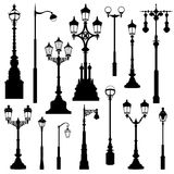 Street lamp set. Street lights retro collection. Street lamp set. Street lights silhouette retro collection stock illustration