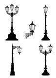 Street lamp set. Street lights retro collection. Royalty Free Stock Image