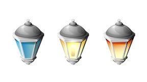 Street lamp. Set of street lamp  on white background, illustration Royalty Free Stock Photography