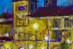 Street lamp shines in night against background of yellow old building and blue night sky. Night city landscape. Macro Fragment of close-up painting. Canvas, oil stock illustration