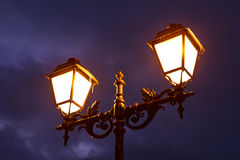 Street Lamp Shining at Night Stock Image