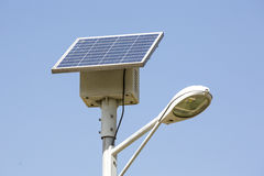 Street lamp with a solar panel Royalty Free Stock Photos