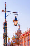 Street lamp in St. Petersburg on a background Church of the Savi Royalty Free Stock Photo