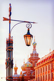 Street lamp in St. Petersburg on a background Church of the Savior Stock Photos