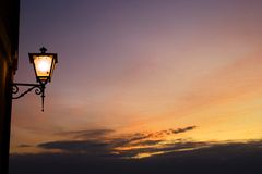 Street lamp and sunse Stock Photo