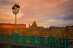 Street lamp at sunset. Saint Pierre bridge. Toulouse. France Royalty Free Stock Images
