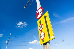 Street lamp traffic signs Stock Image