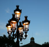 Street lamp at twilight in Barcelona Stock Photo