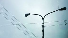 Street lamp two lights daytime silhouette Stock Photo