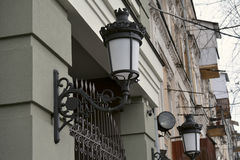 Street lamp on the wall of Kyiv house Stock Photography