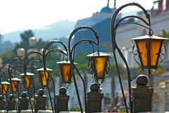Street lamps. Focus on 2nd lamp Royalty Free Stock Photography