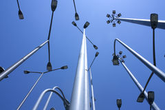 Street lamps. Group on the street lamps. Conceptual image: ideas and light Royalty Free Stock Images