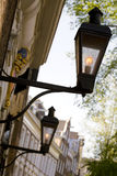 Street lamps. Ancient street lights in amsterdam royalty free stock photos