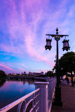 Street lamps along the Ping River in Chiang Mai Stock Photo