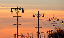 Street lamps of Brighton Beach, New York. royalty free stock photo
