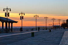 Street lamps of Brighton Beach, New York. stock image
