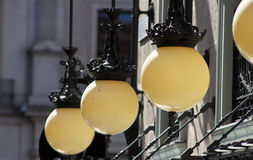 Street lamps on building Royalty Free Stock Photography