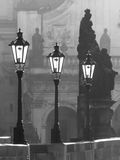Street lamps on Charles bridge in the morning Prague Royalty Free Stock Photos