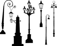 Street lamps collection Royalty Free Stock Images
