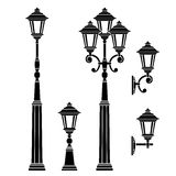 Street Lamps Collection,lantern Set Royalty Free Stock Photography