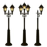 Street lamps collection,Lantern set.Forging lamppost. Royalty Free Stock Photography