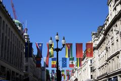 Street lamps & flags decoration, London, England Royalty Free Stock Photo