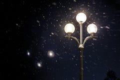 Street lamps illuminate the falling snow. Winter blizzard in park stock photos