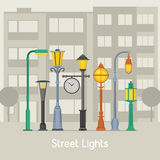 Street Lamps and Lamp Posts Banner royalty free illustration