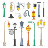Street Lamps and Lamp Posts vector illustration