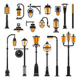 Street Lamps and Lamp Posts Icons vector illustration