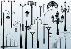 Street lamps on light background Stock Photo