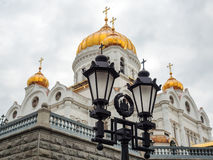 Street lamps near the Christ the Savior Cathedral, Moscow, Russi Royalty Free Stock Image