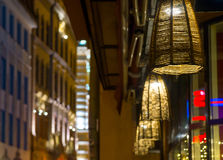 Street lamps near the restaurant Royalty Free Stock Photography
