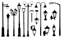 Street lamps. Set of different street lamps Stock Photography