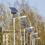 Street lamps with solar panels. Square image. Royalty Free Stock Photography