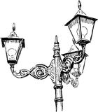 Street lamps. Vector drawing of an old street lamp stock illustration