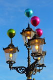 Street lamps vintage lighted Royalty Free Stock Images