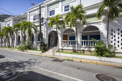 Street landscape of the city Road Town in Tortola Stock Images