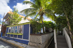 Street landscape of the city Road Town in Tortola Stock Photography
