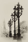 Street lantern. Vintage photo with street lanterns royalty free illustration