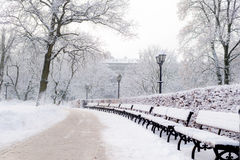 Street lantern with bench in snow beautiful cold winter day Royalty Free Stock Images